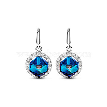 TINYSAND 925Sterling Silver Magic Pendant Earrings, with Austrian Crystal and Cubic Zirconia, 243_Capri Blue, 20.8x10.7x8.9mm(TS-E443-S)