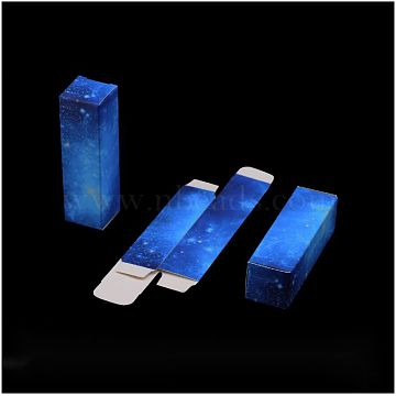 Rectangle Lipstick Paper Packaging Boxes, Lip Sample Lip Gloss Packaging Box, Blue, 8.65x2.6x2.55cm(X-CON-WH0070-01D)