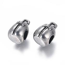 Liens de suspension en 304 acier inoxydable, Perles avec un grand trou   , sac, argent antique, 14x10x10mm, trou: 2x1.5 mm; diamètre intérieur: 4.5~5 mm(STAS-I120-95AS)
