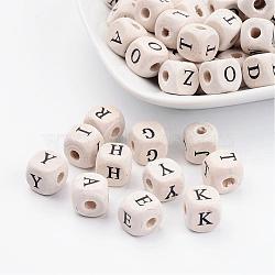 100 шт деревянные бусины, куб с письмом, 10 мм длиной, толщиной 10 мм , отверстие : 3 мм(X-TB595Y)
