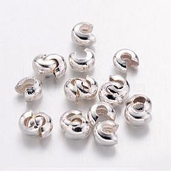 Couvertures de perles à sertir en fer, sans cadmium et sans plomb, couleur argentée, taille: environ 3mm de diamètre, Trou: 1.2~1.5mm(X-IFIN-H028-S)