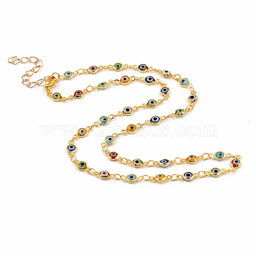 Brass Evil Eye Lampwork Link Chain Necklaces, with 304 Stainless Steel Lobster Claw Clasps, Golden, 16.25 inches(41.3cm)(X-NJEW-JN02948)