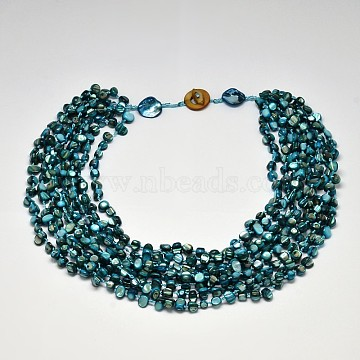 Women's Shell Tiered Necklaces, Multi-Layered Necklaces, Deep Sky Blue, 20.86 inches(NJEW-L097-03)