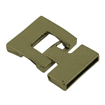 Tibetan Style Alloy Snap Lock Clasps, Cadmium Free & Lead Free, Antique Bronze, 34x22~22.5x4mm, Hole: 19.5x2mm(X-TIBEP-S298-030AB-LF)