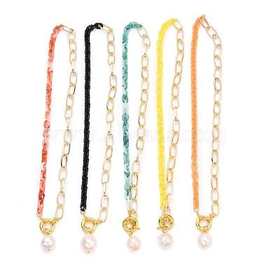 Natural Baroque Pearl Keshi Pearl Pendant Necklaces(NJEW-JN03149)-1