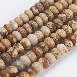 """Chapelets de perles en jaspe avec images naturelles, facette, rondelle, 4~4.5x2~2.5mm, trou: 1mm; environ 150 pcs/chapelet, 15.1""""~15.3'' (38.5~39 cm)(G-K255-05)"""