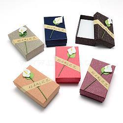 Boîtes à bijoux en carton, avec une éponge insdie, rectangle, couleur mixte, 9x7x3 cm(CBOX-S015-04)