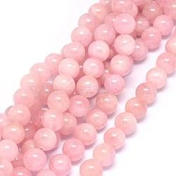 """Chapelets de perles en morganite naturelle, rond, 8mm, trou: 0.8mm; environ 52 pcs/chapelet, 15.5~15.9"""" (39.5~40.5 cm)(G-F602-12-8mm)"""