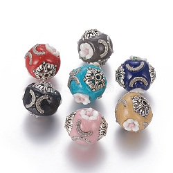 Handmade Indonesia Beads, with Resin Flower Beads and Alloy Findings, Round, Antique Silver, Mixed Color, 17~20x19~20mm, Hole: 1.6mm(IPDL-F028-10)