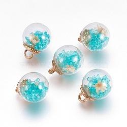 Pendentifs de boule en verre, avec des accessoires en plastique CCB, fleurs séchées au hasard et strass, turquoise, 20x15.5mm, Trou: 3.5mm(GLAA-N0020-02F)