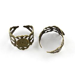 laiton réglable tiges anneau, composants d'anneau en filigrane, bronze antique, plateau: 10 mm; 19 mm(X-KK-Q573-008AB)