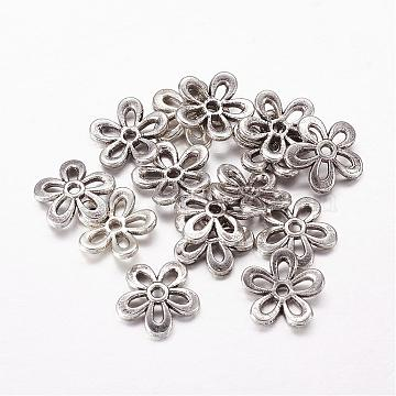 Tibetan Style Alloy Bead Caps, Lead Free and Cadmium Free, Flower, Antique Silver, about 11.5mm in diameter, 2.5mm thick, hole: 1mm(X-LF1438Y)
