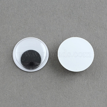 Black & White Wiggle Googly Eyes Cabochons DIY Scrapbooking Crafts Toy Accessories, Black, 15x4mm(X-KY-S002-15mm)