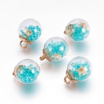 Turquoise Round Glass Pendants