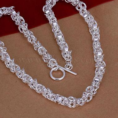 Popular Silver Color Plated Brass Byzantine Chain Necklaces For Men(NJEW-BB12696-18)-2