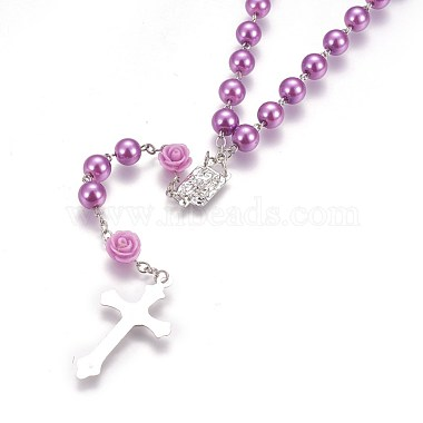 Glass Imitation Pearl Rosary Bead Necklace for Easter(NJEW-WH0005-06)-3