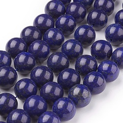 Natural Lapis Lazuli Beads Strands, Dyed, Round, Blue, 14mm, Hole: 1mm; about 14pcs/strand, 7.6inches