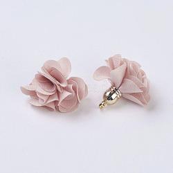 Décorations de pendentif en tissu, avec les accessoires acryliques, fleur, peachpuff, 25~30x28~35mm, Trou: 2mm(X-FIND-P026-D14)