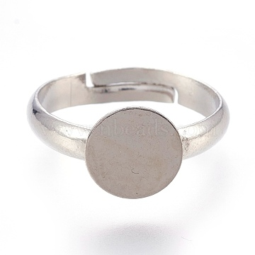 Adjustable Brass Finger Rings Components, Pad Ring Base Findings, Flat Round, Platinum, Tray: 8mm; 14.5mm(X-KK-L167-10B)