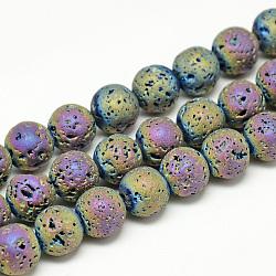 """Chapelets de perles de lava électrolytique naturel, Style mat, rond, multi-couleur plaquée, 4~5mm, trou: 0.5mm; environ 88 pcs/chapelet, 13.7~14.9""""(X-G-T058-03E-4MM)"""