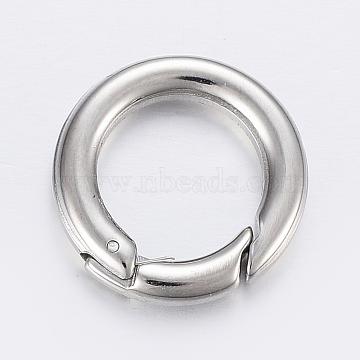 304 Stainless Steel Spring Gate Rings, O Rings, Stainless Steel Color, 18x3.5mm; Inner Diameter: 11mm(STAS-P198-09A)