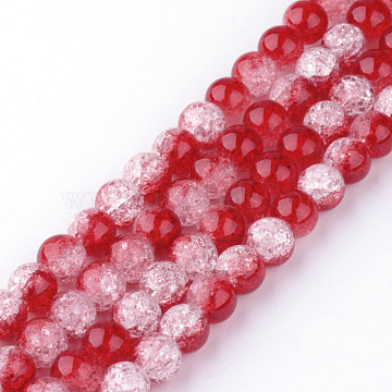 Synthetic Crackle Quartz Beads Strands, Two Tone Style, Round, Dyed, Red, 12mm, Hole: 1mm; about 32pcs/strand, 15.7 inches(GLAA-S135-12mm-03)