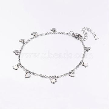 304 Stainless Steel Charm Anklets, Heart, with 316 Surgical Stainless Steel Cable Chains, Stainless Steel Color, 9 inches(230mm)(AJEW-AN00205)