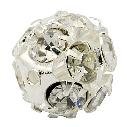 Brass Clear Rhinestone Beads, Grade B, Round, Silver Color Plated, 12mm(X-RB-A017-12mm-S)