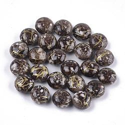 perles acryliques peintes par pulvérisation, plat rond, café, 10.5x6.5 mm, trou: 1.5 mm; environ 1060 pcs / 500 g(MACR-S362-04)