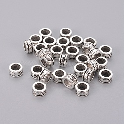 Tibetan Style Spacer Beads, Lead Free and Cadmium Free, Column, Antique Silver Color, Size: about 8mm in diameter, 4mm thick, hole: 5mm(X-LF11346Y)