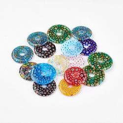 Perles en verre de millefiori manuelles, plat rond, couleur mixte, 34~39x4~4.5mm, trou: 8mm; pitch-row: 13~16mm(LAMP-G131-02)