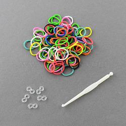 Les plus chaudes des bandes de caoutchouc kits de métiers à tisser bracelet coloré recharges bricolage, meilleur pour les enfants cadeau de jouet, 110x100x22mm(X-DIY-R001-01)