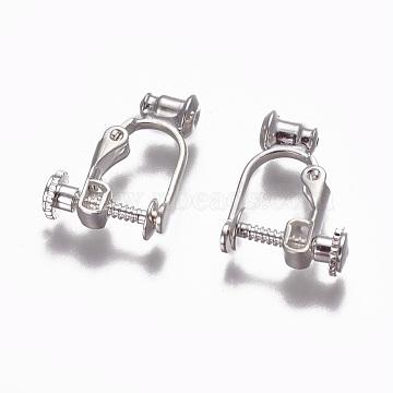 Brass Screw Clip-on Earring Converters Findings, for Non-Pierced Ears, Silver, 17x13x5mm, Hole: 0.6mm(KK-F785-04S)