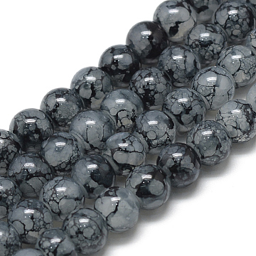 Glass Beads Strands, Crackle Style, Round, Imitation Jade, Prussian Blue, 6~6.5mm, Hole: 1.5mm; about 145pcs/strand, 31.8 inches(80.7cm)(X-DGLA-S115-6mm-YS20)