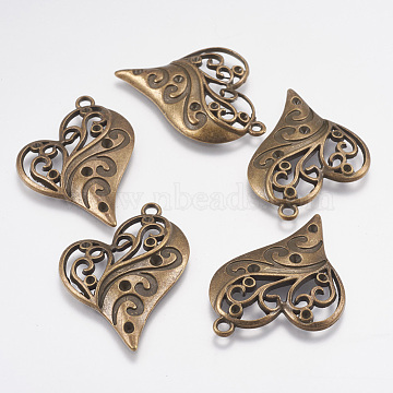 Heart Zinc Alloy Pendant Rhinestone Enamel Settings, Antique Bronze, Lead Free & Nickel Free, Size: about 39mm long, 31mm wide, hole: 2mm(X-PALLOY-A13825-AB-FF)