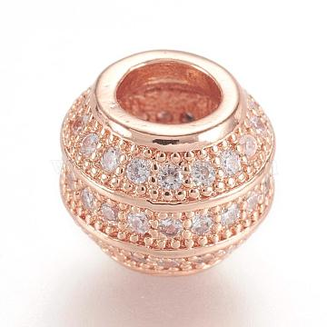 Brass Micro Pave Cubic Zirconia European Beads, Large Hole Beads, Real Rose Gold Plated, Rondelle, Rose Gold, 8.5x7mm, Hole: 4mm(ZIRC-F062-12RG)