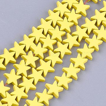 brins de perles d'hématite synthétiques non magnétiques peints par pulvérisation, étoiles, jaune, 8x8x2.5 mm, trou: 0.8 mm; environ 64 perle / brin, 15.5(X-G-T116-21-24)
