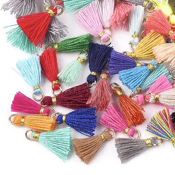 Cotton Tassel Pendant Decorations, with Iron Findings and Metallic Cord, Light Gold, Mixed Color, 10~15x2~3mm, Hole: 1.5mm(X-FIND-S281-M)