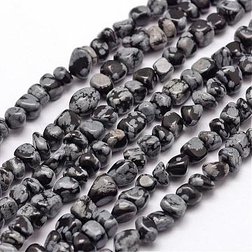 Natural Snowflake Obsidian Beads Strands, Chip, 3~5x3~5x3~8mm, Hole: 1mm; about 85~90pcs/strand, 15.7inches(40cm)(G-F465-11)