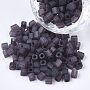 6/0 Transparent Glass Seed Beads, Frosted Colours, Square Hole, Cube, Purple, 6/0, 3~5x3~4x3~4mm, Hole: 1.2~1.4mm; about 4500pcs/bag