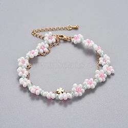 """Bracelets en laiton multi-brins, avec des perles de rocaille en verre et des chaînes de câbles, trèfle, colorées, 13-1/4""""~14-5/8"""" (33.4~37.2cm); 1~1.5mm(BJEW-JB04291-02)"""