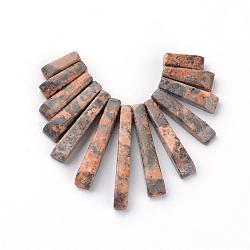 Brins de perles de jaspe en peau de léopard naturel, pendentif éventail éventail, rectangle, 11~31x4~6x3~5mm, trou: 1mm; environ 13 pcs/chapelet(G-Q481-69H)
