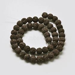 lave naturelle rangées de perles rondes, teints, café, 6 mm, trou: 1 mm; environ 63 perle / brin, 15.7(X-G-I124-6mm-12)