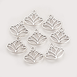 Tibetan Style Alloy Charms, Lotus, Cadmium Free & Lead Free, Antique Silver, 14x16x1.5mm, Hole: 1.5mm