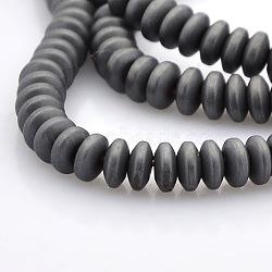 """Perles rondelles synthétiques en hématite synthétique non magnétique mat de style mat, platinée, 4x2mm, trou: 1mm; environ 200 pcs/chapelet, 16.5""""(G-M079-02)"""