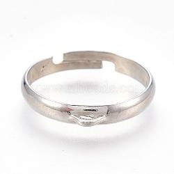 Adjustable Brass Ring Shanks, Loop Ring Base Findings, Platinum, 17mm; Hole: 1.2x1mm(KK-L167-12P)