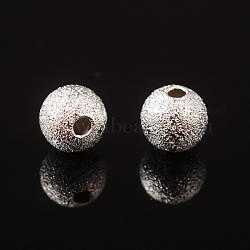 Perles texturées en laiton couleur argent de 6mm, rond, Trou: 1mm(X-EC248-S)