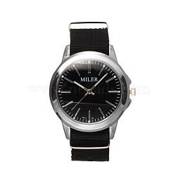 Unisex Stainless Steel Braided Nylon Rope Quartz Wrist Watches, Black, 240x20mm; Watch Head: 50x45x12.5mm; Watch Face: 34mm(WACH-N033-07B)