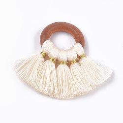décorations pendentif gland en polycoton (polyester coton), avec les résultats de bois, fan, Floralwhite, 33~35x40~49x4 mm, trou: 11~12 mm(FIND-S298-04)