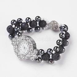 bracelets de lave naturelle montres, avec hématite synthétique non magnétique et perles de verre, tête de montre en alliage strass et fermoirs magnétiques, noir, 180x17.5 mm(BJEW-JB03768)